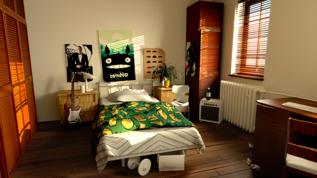 The Bedroom scene from 3dRender.com Lighting Challenge #21