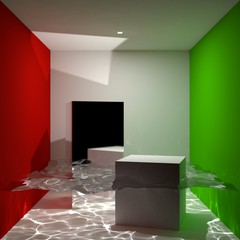 Cornell Box filled with water - Rendered with Stochastic Progressive Photon Mapping (SPPM)