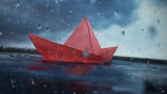 Red Paper Boat by Giuseppe Lucido