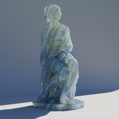 Statue of Nymph by TurboSquid user oliverlaric with Random-Walk subsurface scattering and anisotropic Gabor noise, by Luis Barrancos