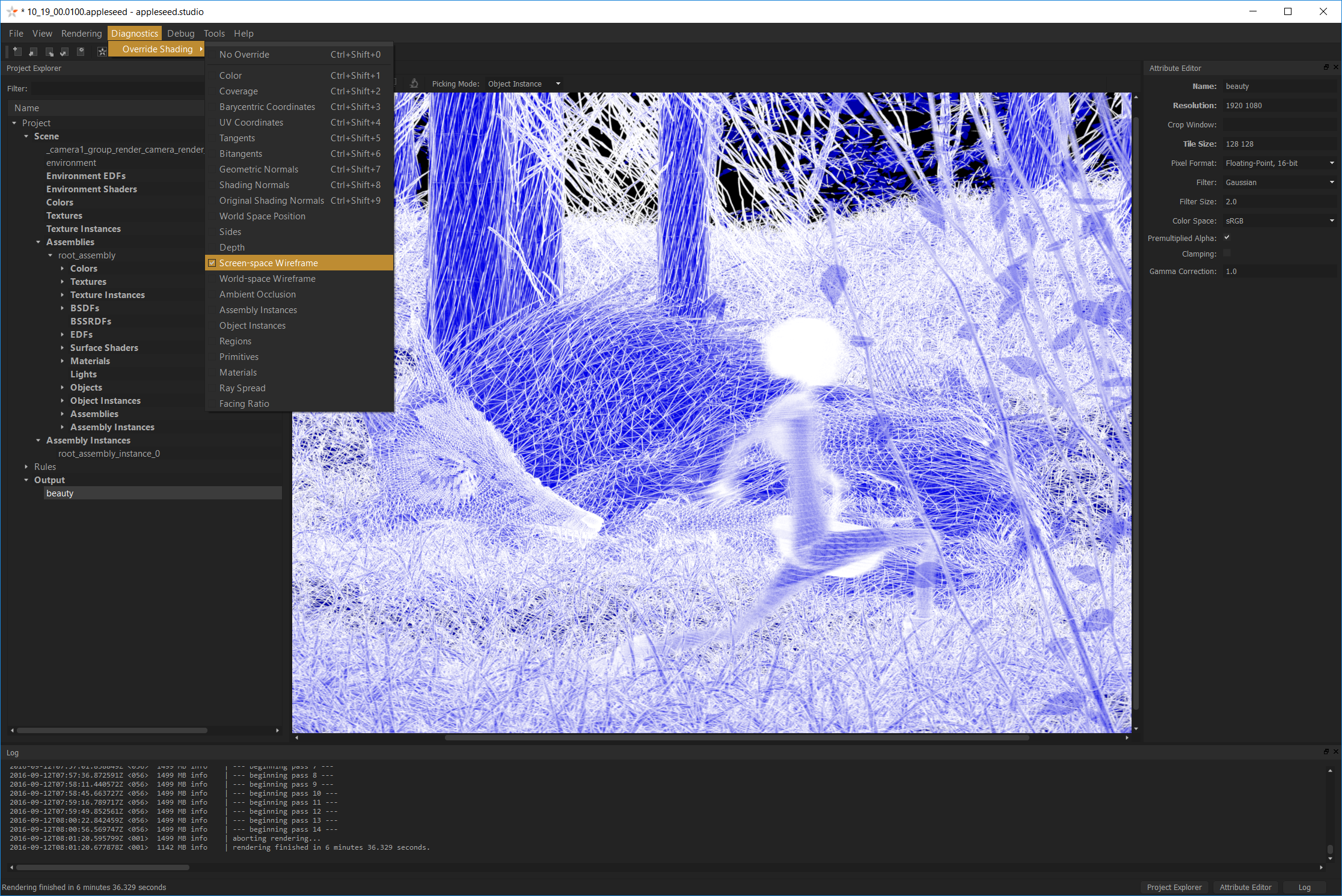 appleseed.studio, rendering a scene from Fetch with the built-in wireframe shader